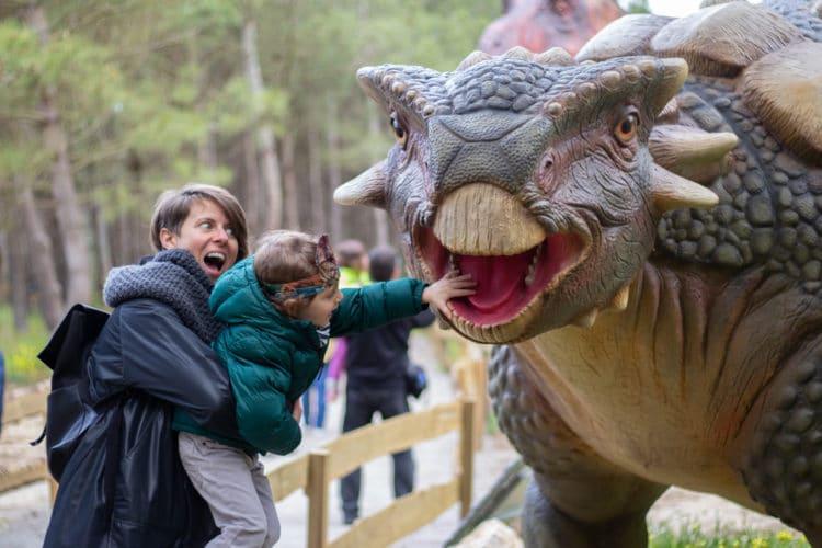 touching a dinossaur