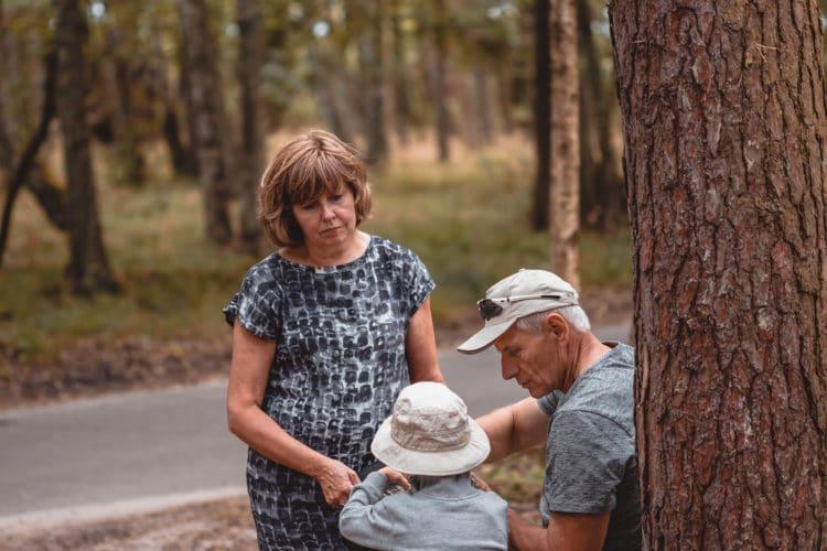 grandparents and grandchild in the nature