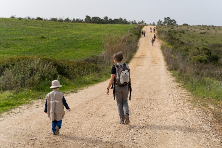 mon and son walking