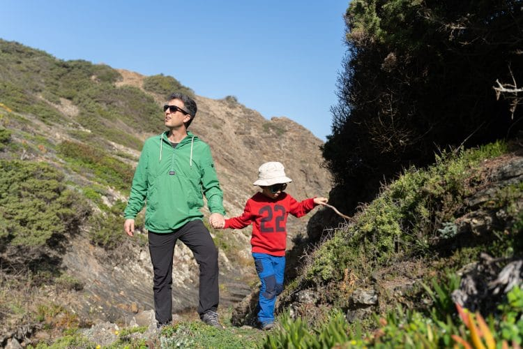 dad and son exploring