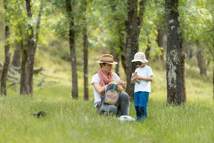 mother and son picnic in nature