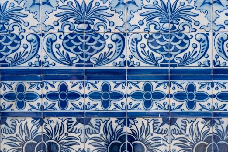 blue and white portuguese tile panel