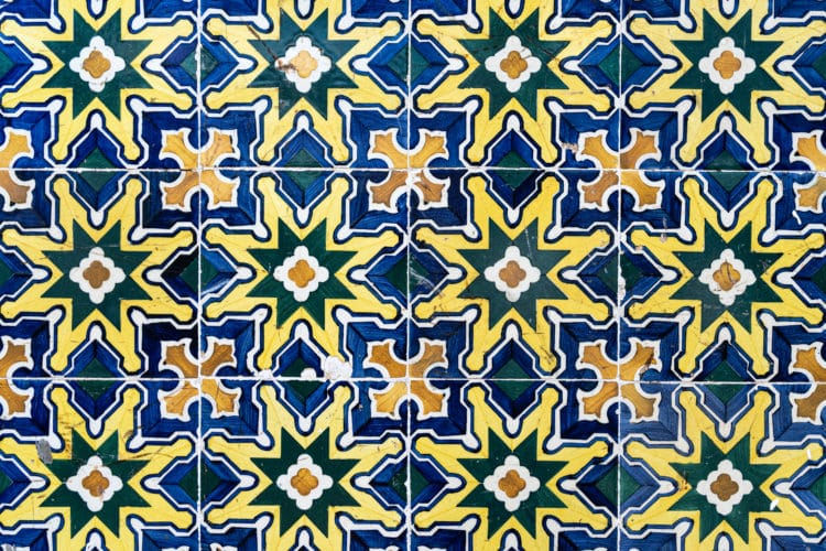 yellow, green, orange and blue portuguese tile