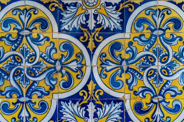 yellow and blue portuguese tile